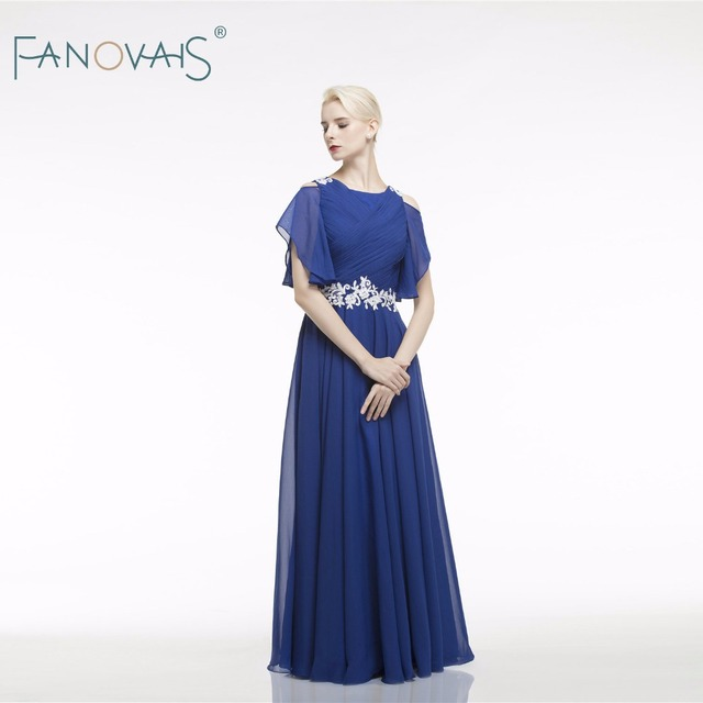 Lace Chiffon Mother of the Bride Dresses Long Royal Blue Groom Mother Dresses Short Sleeves Formal Evening Dress For mother