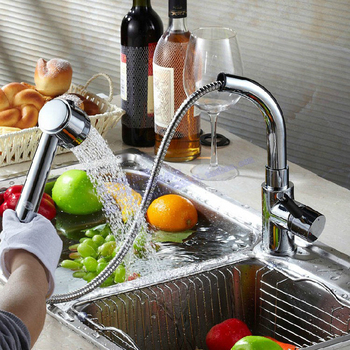 Copper retractable spring hot and cold pull out faucet vegetables basin faucets
