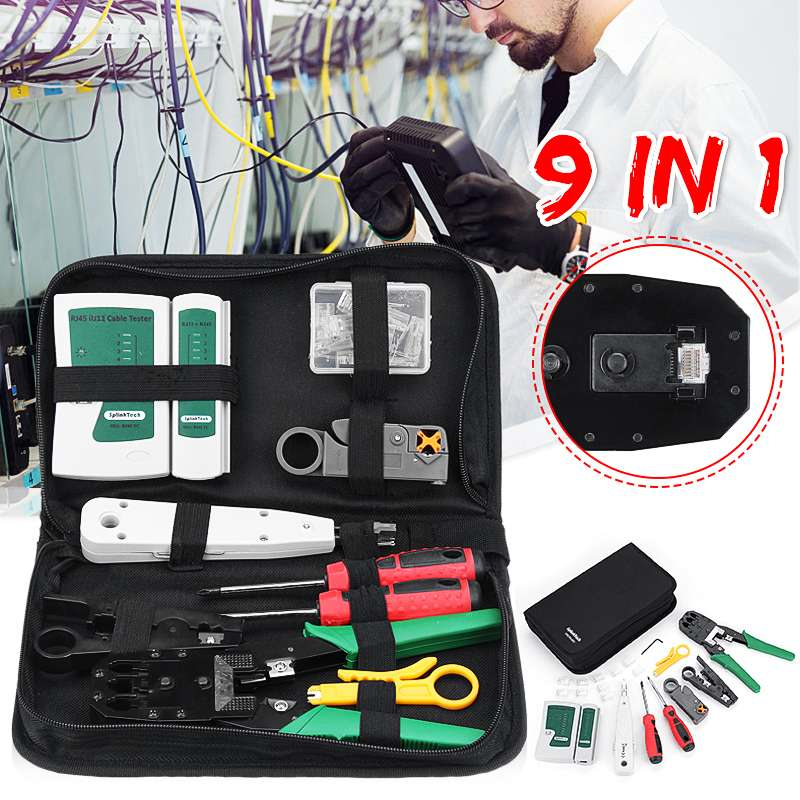 9 In 1 Network Repair Tool Kit UTP Cable Tester Protable Phone LAN Crimper Plug Clamp RJ45 RJ11 RJ12 CAT5 CAT5e Tools Kit