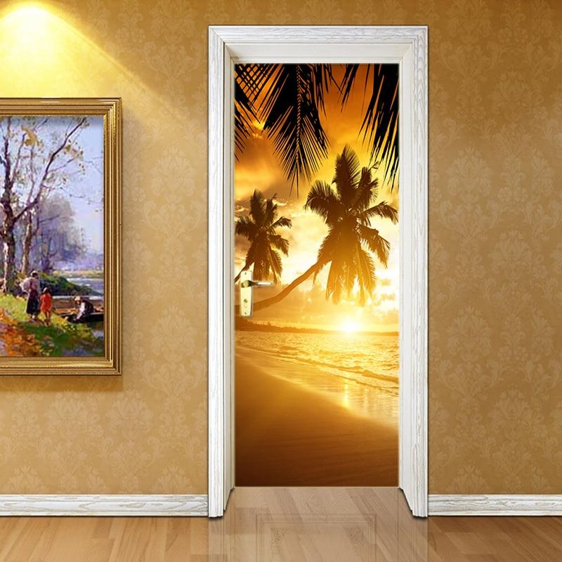 3D Door Sticker Modern Beach Sunset Landscape Murals Wallpaper Living Room Bedroom Home Decor Wall Stickers PVC Waterproof Mural