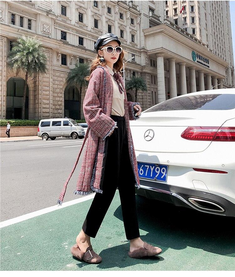 19 Autumn New Women Elastic Woolen Pant Female Plus Size Casual Trousers Black/Gray Harem Pants Winter Wool Ankle-Length Pants 36