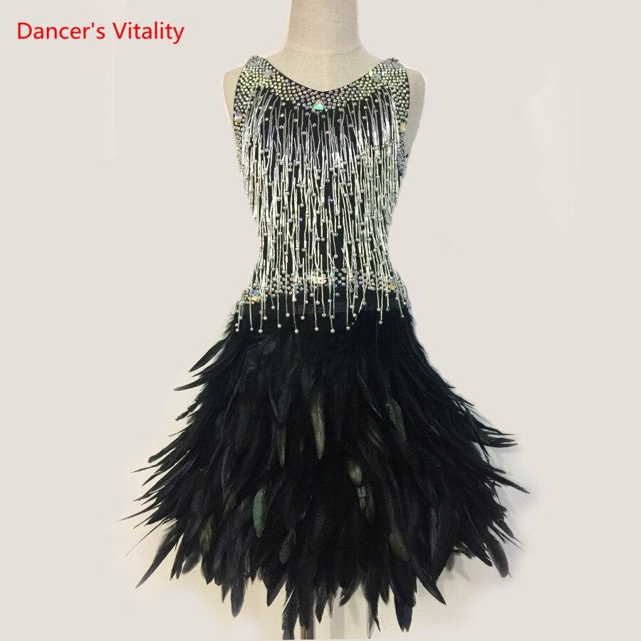 Senior Diamond Feathers Latin Dance Dress Girls Latin Dance Ballroom Dance Dress Childrens' Dance Performance Costumes