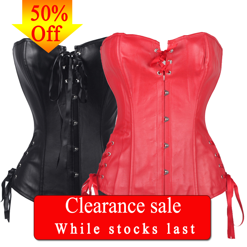 FLORATA Punk   Corsets     Bustiers   Waist Cincher Women's PU Corselets Front Lace Up Ribbon Back Overbust 50% OFF Clearance Sale