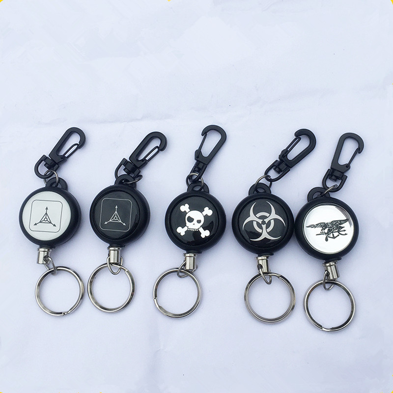 1Pc 60CM EDC Outdoor Steel Rope Burglar Keychain Tactical Retractable Key Chain Camping Key Ring