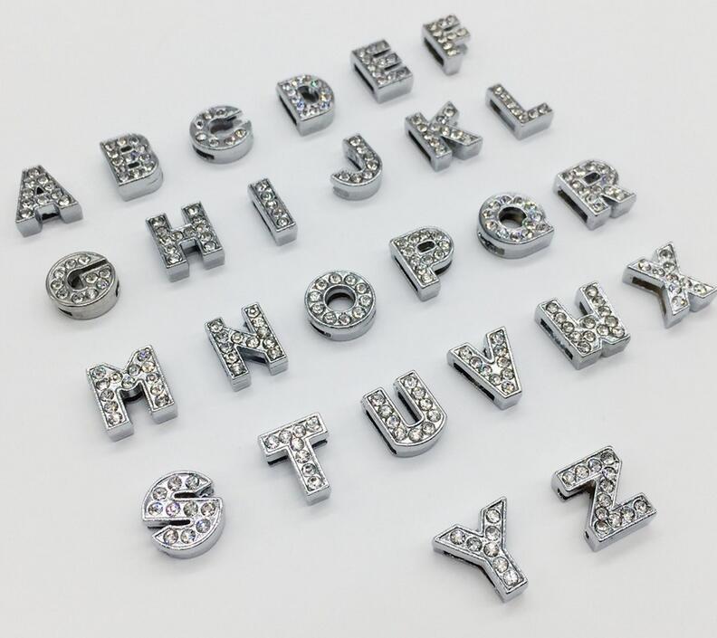 52PCS 8MM Full Rhinestones Slide Letters A Z Alphabet DIY