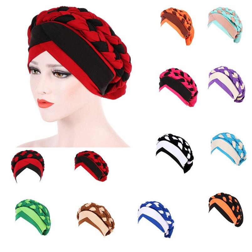 2018 Fashion New Women Hairbraid India Africa Muslim Stretch Turban Cotton Hair Loss Head Scarf Wrap Cap Casual Hot Sale #L26 (26)