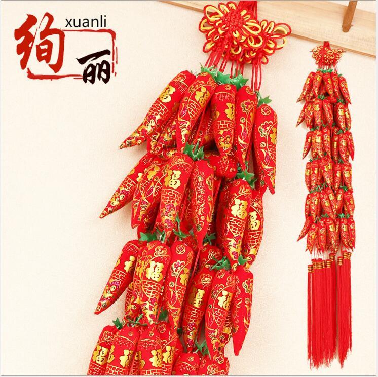 2018 Rdeča paprika Ornament Kitajska značilnost Houday Dekoracije - Prazniki in zabave