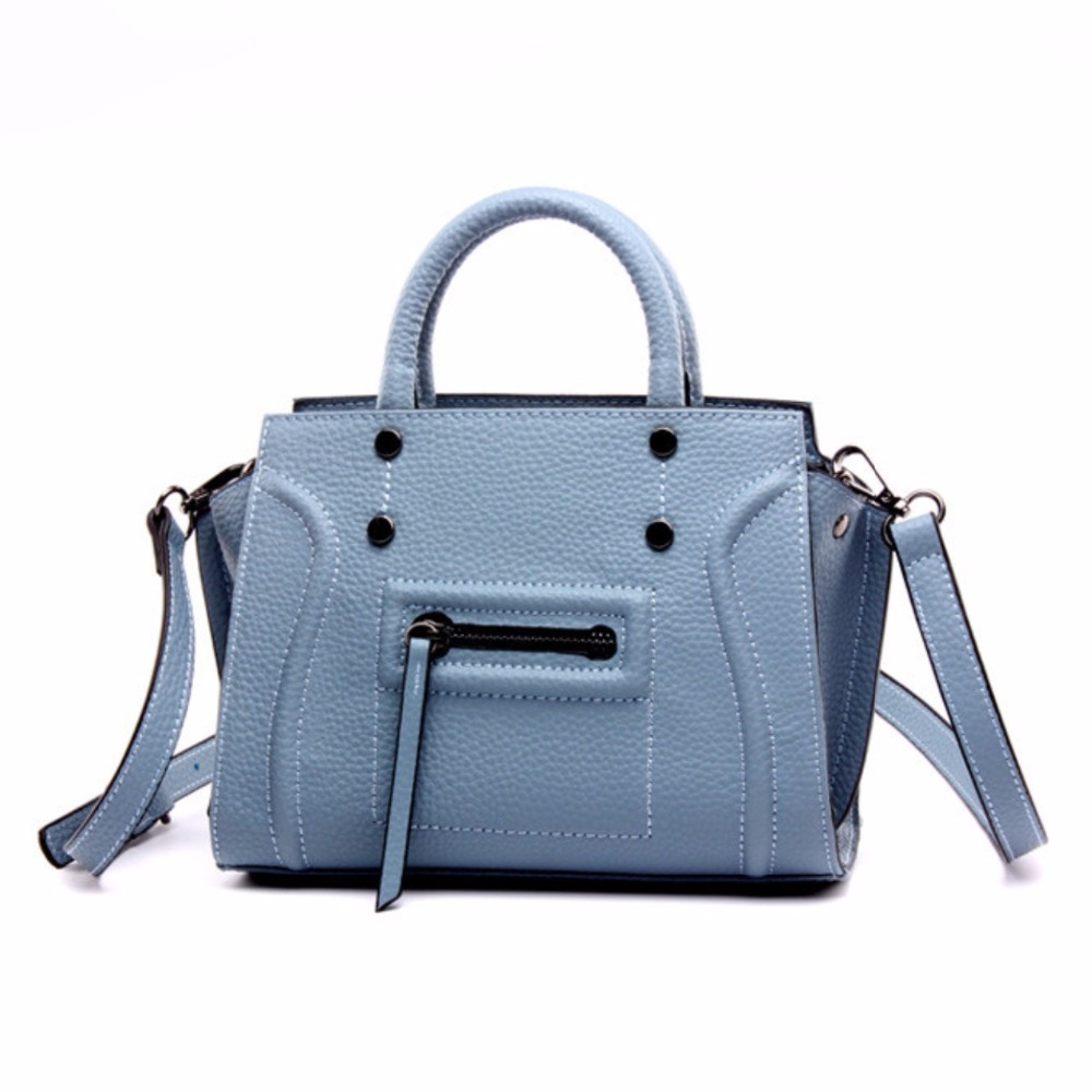 ФОТО New Blue Smile Genuine Leather Crossbody Handbags Popular Fashion Satchel Handbags Real Leather Messenger Bags Totes