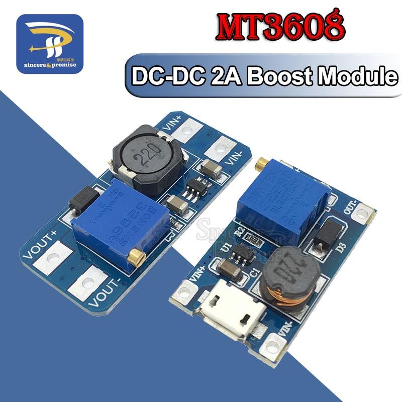 MT3608 DC-DC регулируемый Повышающий Модуль 2А Повышающий Модуль с MICRO USB 2в-24в до 5В 9В 12В 28В для Arduino