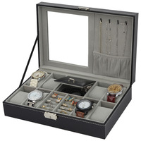 2 In One 8 Grids+3 Mixed Grids PU Leather Watch Boxes Storage Organizer Box Luxury Jewelry Ring Display Watch Case Black