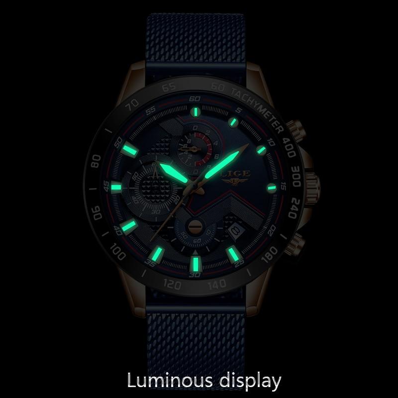 2019 New LIGE Blue Casual Mesh Belt Fashion Quartz Gold Watch Mens Watches Top Brand Luxury Waterproof Clock Relogio Masculino 3