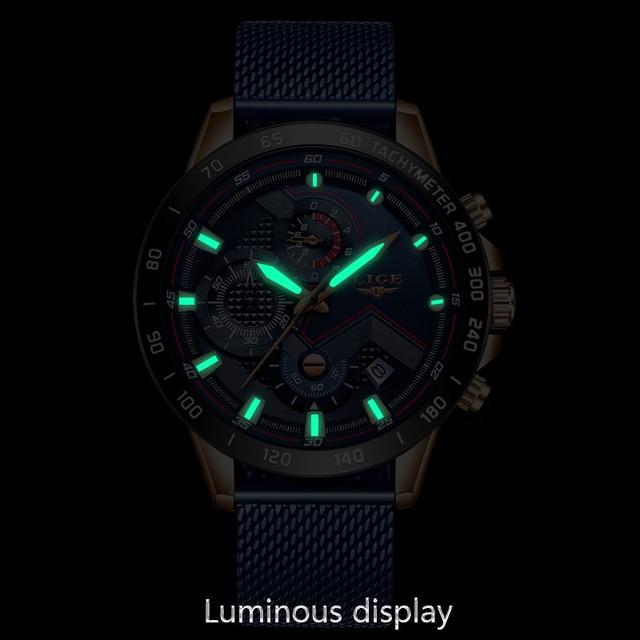 LIGE azul Casual malla Correa moda cuarzo oro reloj para hombre relojes marca superior reloj impermeable de lujo 2