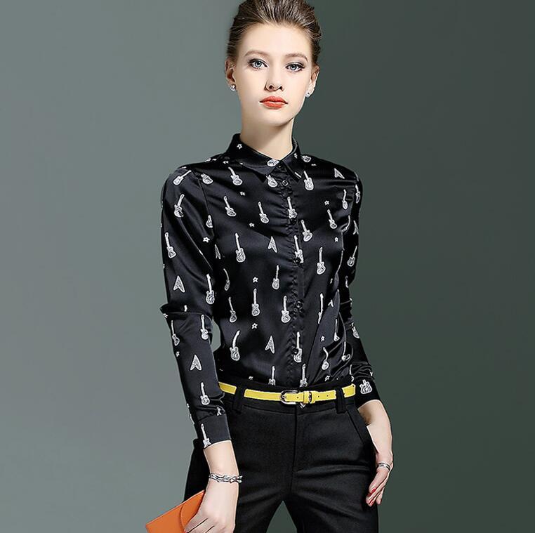 Haute qualité! Marque originale femme printemps décontracté imprimé chemise femme manches longues OL chemise chic noir blouse hauts TB722