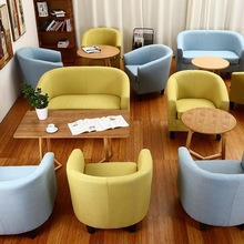 European fabric single sofa chair Internet cafe coffee small sofa hotel room study computer