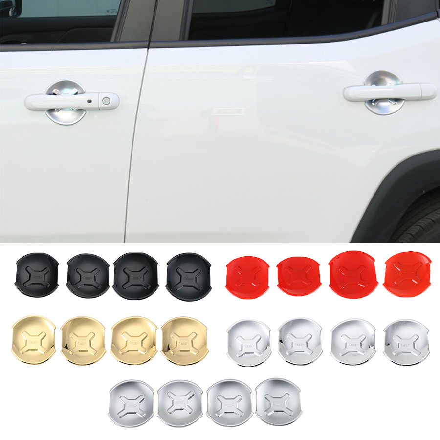 4PCS Car-Styling Car Outside Door Handle Bowl Trim Cover ABS Chrome Red Gold Black For Jeep Renegade Free Shipping Sticker