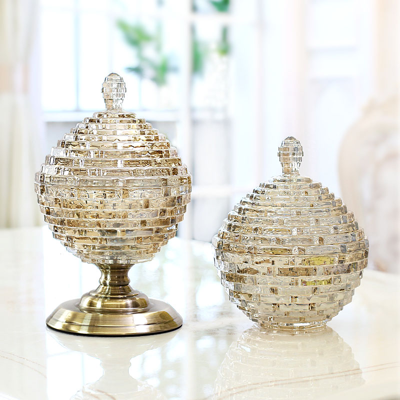 Romantic French crystal dried fruit jar dining room decoration home jewelry with lid candy Tank storage tank European Globe giftRomantic French crystal dried fruit jar dining room decoration home jewelry with lid candy Tank storage tank European Globe gift