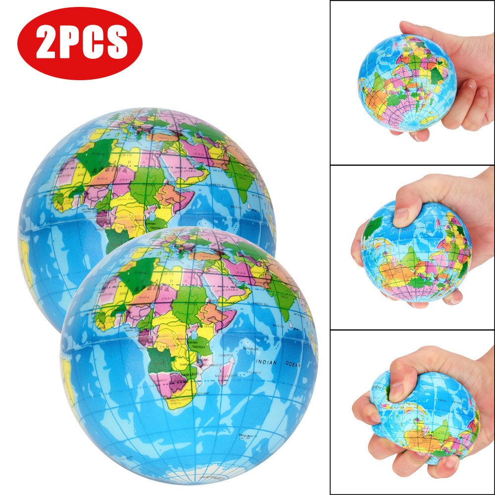 2Pcs/Set Rubber Stress Relief World Planet Map Foam Ball Atlas Globe Palm Ball Planet Earth Ball Squishies Squeeze Toy Toys