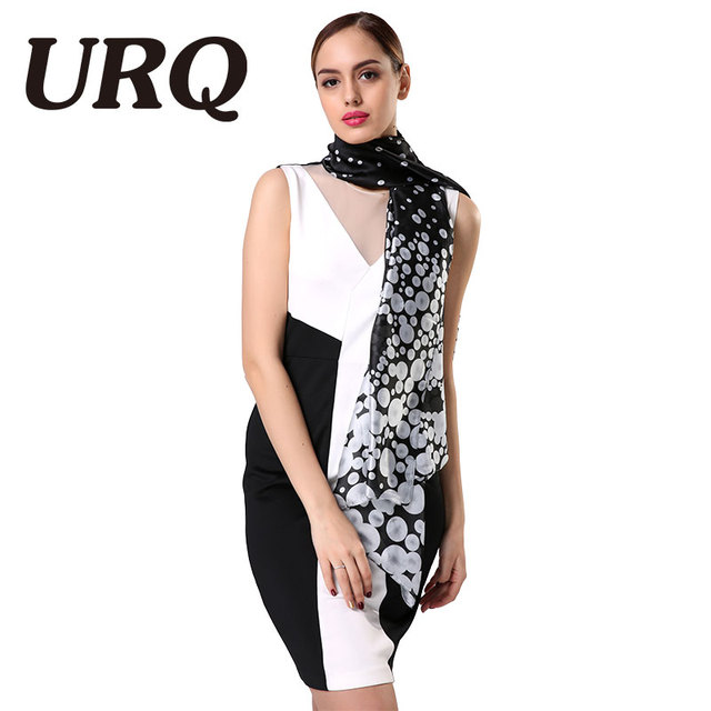 [URQ] 2017 Silk Scarf Luxury Brand bandana Smooth Dot Printing Shawls and Scarves Women Scarf With Dress S9A18765