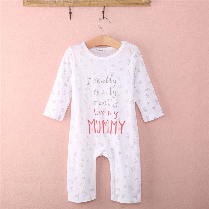 57ef18f3804c1 Hot sale I love Mum Dad Newborn Baby Boy Girl 100cm Cotton Sleepsuit Letter-in  Rompers from Mother & Kids on Aliexpress.com | Alibaba Group