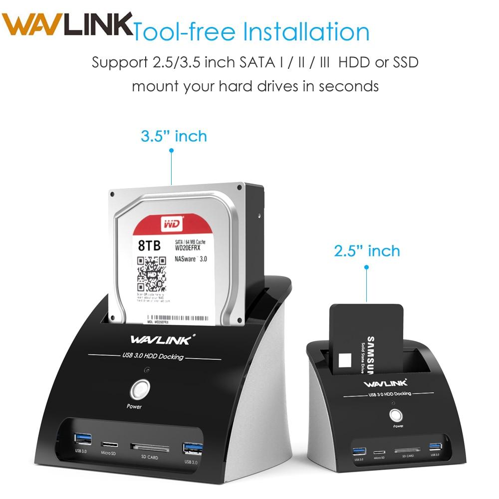 Wavlink Docking-Station Case Card-Reader External-Enclosure Sata Hdd SSD Usb-3.0