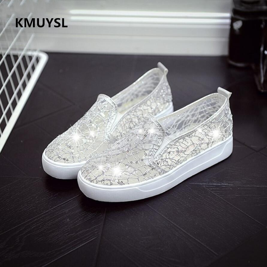 2017 spring and summer fashion new flat casual shoes sequins breathable students sandals lazy flat shoes