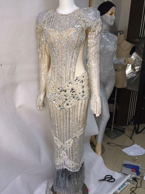 Роскошные праздновать длинное платье вечернее Серебряные платья блестят костюм певица ночной клуб на день рождения Кристаллы яркий наряд