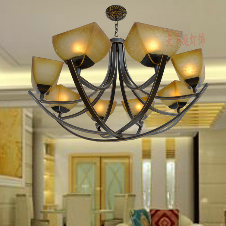 Multiple Chandelier Iron Shipping antique lamp iron Bronze simple pastoral dining room bedroom lamp ZX21 zx hot sale solid wood iron nut e27 led chandelier height adjustable for dining room bar bedroom