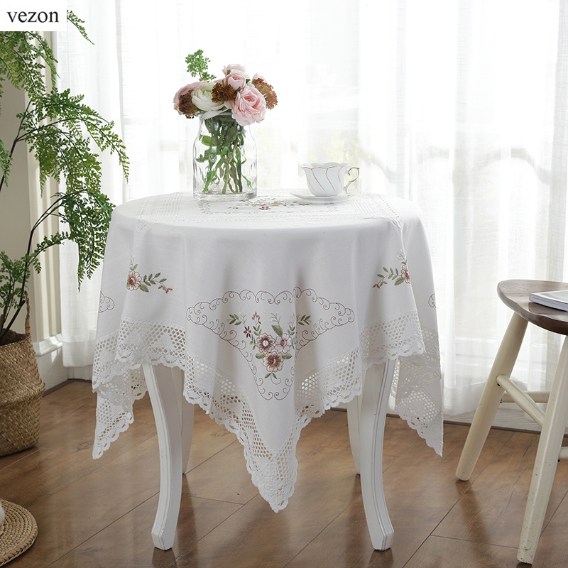 vezon Jualan panas Elegant White Cotton Embroidery Lace Tablecloth Embroidered Table Cloth Linen Cover Home Decoration Textile