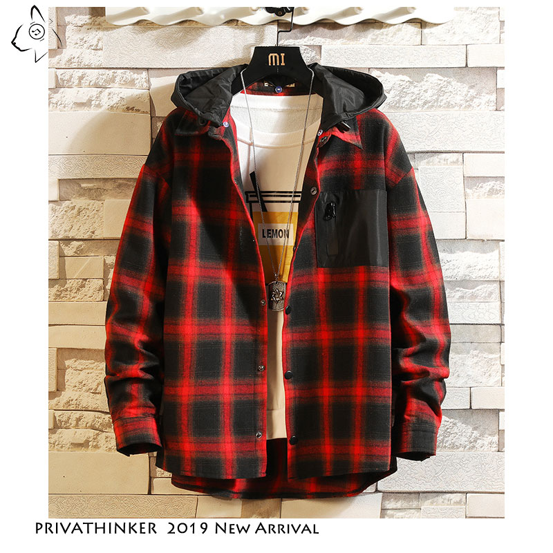 Privathinker Patchwork Hooded Plaid Cotton Shirt Mens 2019 Autum Causal Pocket Coat Streetwear Japanese Long Sleeve Shirts Male