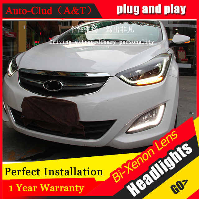car styling For Hyundai ELANTRA headlights angel eyes DRL 2015 For ELANTRA LED light bar DRL bi xenon lens h7 xenon