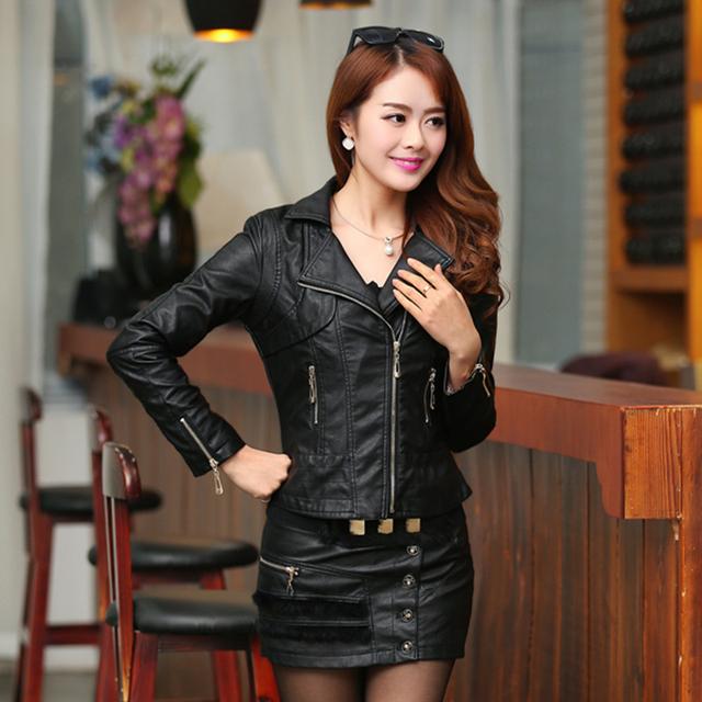 FTLZZ Plus Size 4XL Pu Leather Jacket Autumn Women Slim Motor Outwear Coat Zippers Roupas De Couro Female Elegant Punk Coat