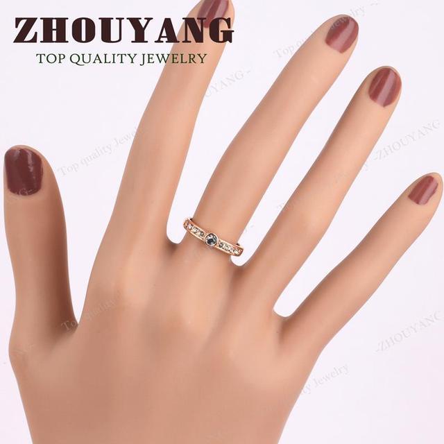 ZYR172 Concise Anello di Cristallo In Oro Rosa di Colore di alta Qualità Cristalli Austriaci Taglie Complete All'ingrosso