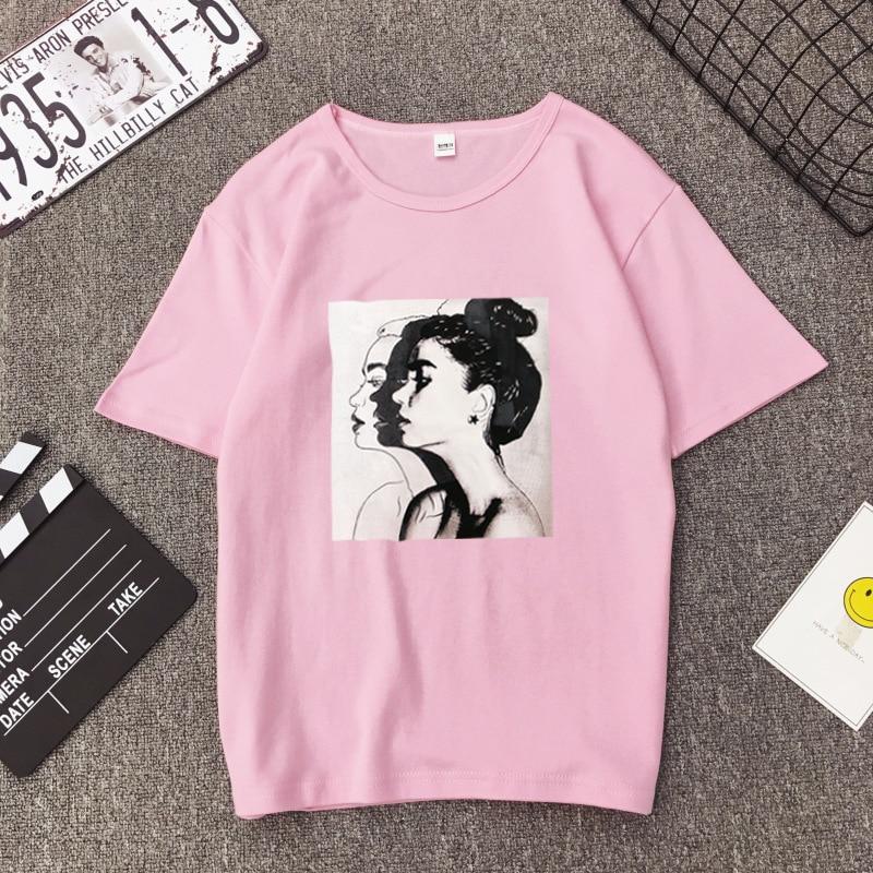 Girls Print Short Sleeve O Neck Cotton Spandex Women Top