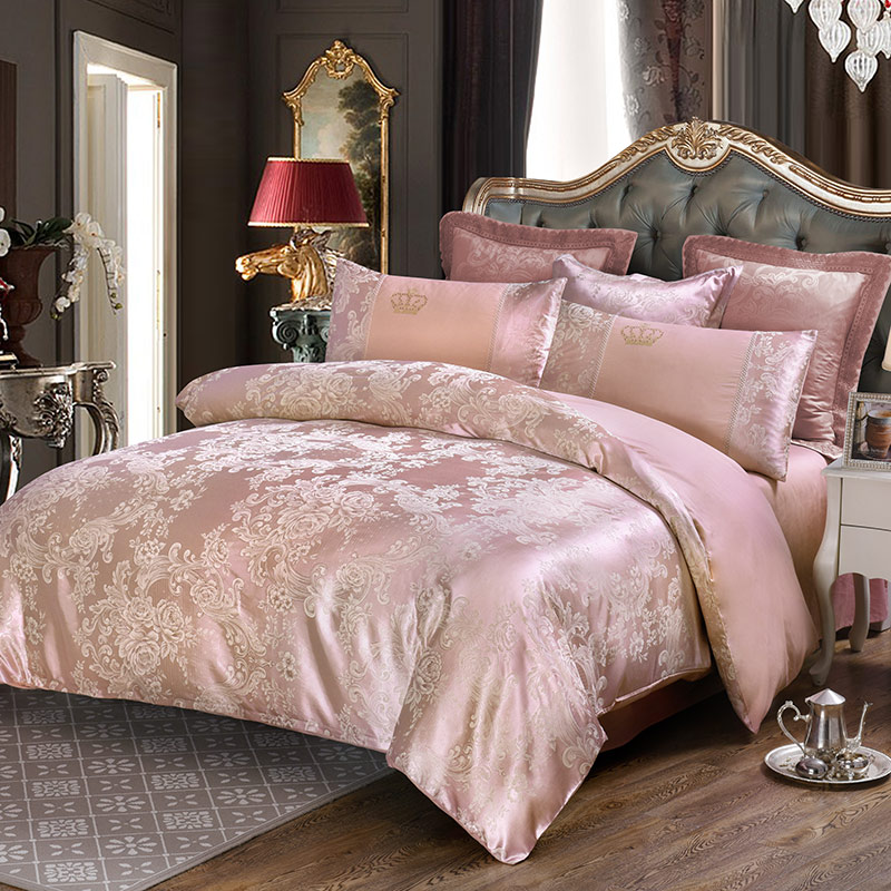 Deep pink flowers jacquard 4pcs queen king bedding sets luxury silk quilt duvet covers quality bed