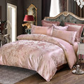 Deep pink flowers jacquard 4pcs queen king bedding sets luxury silk quilt duvet covers quality bed clothes bedsheet pillowcase
