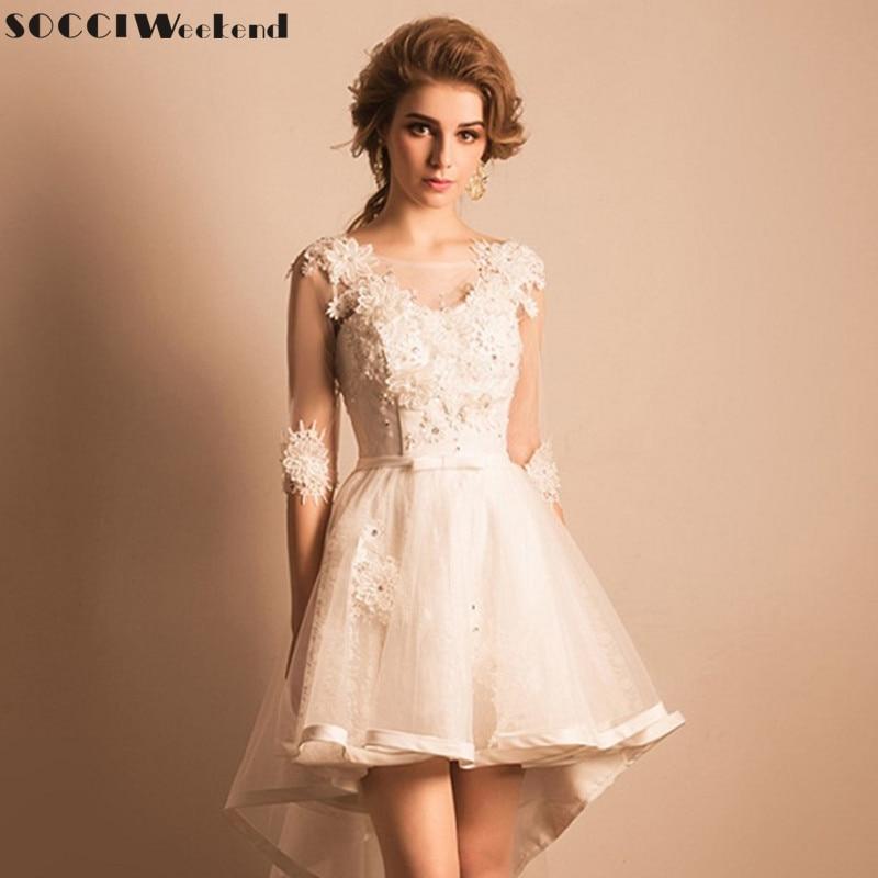 Socci weekend 2017 princess bridal wedding dresses short for Floral wedding dresses 2017