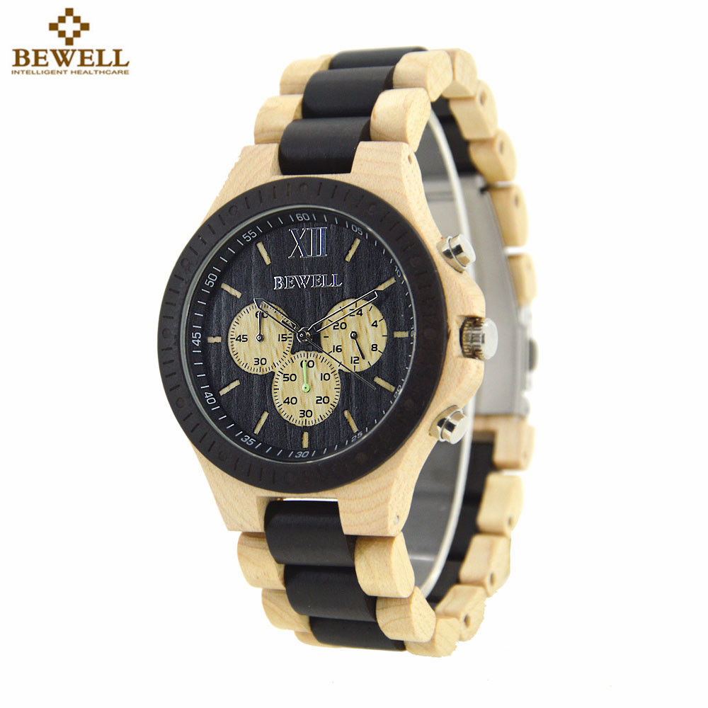 BEWELL Business Watch Sport Watches Men's Hand-made Wood Quartz Watch Chronograph Wristwatch Mens Clock Watches Gift Box 116A hand made natural wood mens quartz watch wooden watchband bracelet clasp simple design dial high quality male watches gift