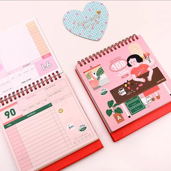 """Girls Daily"" 100 Days Planner Gullig Agenda Scheduler Spiral Coil Mini Pocket Notebook Stationery Gift"