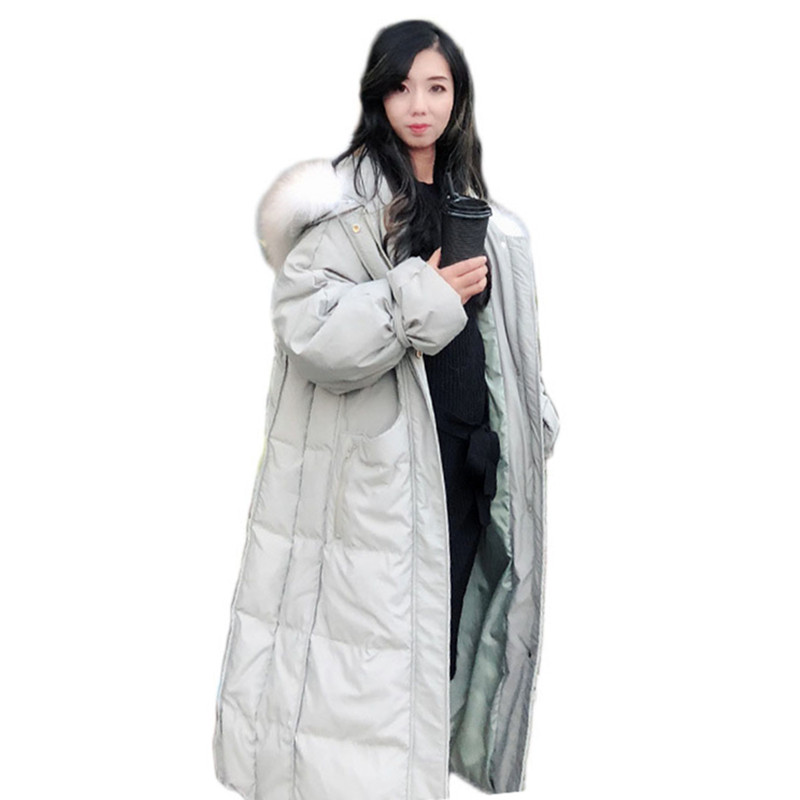 Outwear Warm Long Parka 2018 New Winter Fur Collar Hooded Duck   Down   Jacket Winter Women Thick Loose Jacket Duck   Down     Coat   NS790