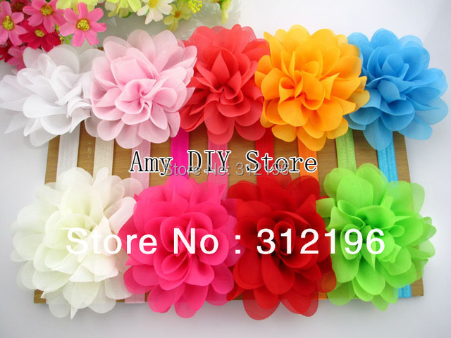 Free Shipping 10pcs/lot pretty chiffon flower on 1.5cm skinny elastic headband flower headband for newborns girls