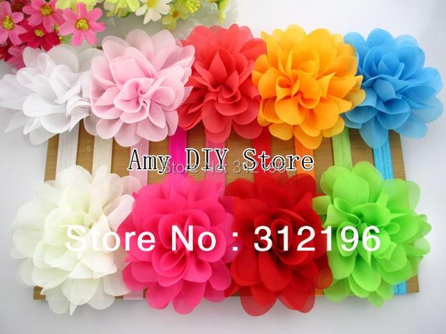 MyAmy 10pcs/lot pretty chiffon flower on 1.5cm skinny elastic headband flower headband for newborns girls Free Shipping
