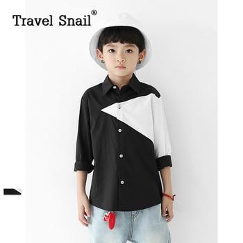 Travel snail 4-9 yrs boys shirts for children kids blouse clothing toddler boys shirts geometric full cotton 2018 Spring New
