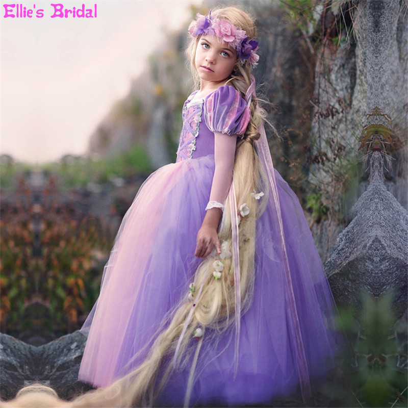 High-end Custom Cosplay Children Girls Princess Rapunzel Dress Costume For Kids Ball Gowns Tulle Girl Birthday Party Dress 2-13 high quality silk 35mm 200m blank washing mark high end laundering tags for garment provide custom order