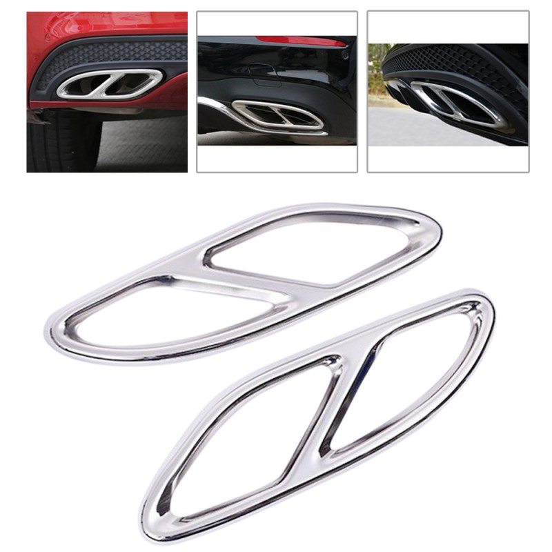 2PCSx Rear Cylinder Exhaust Pipe Cover Trim For E Class W212 W213 14