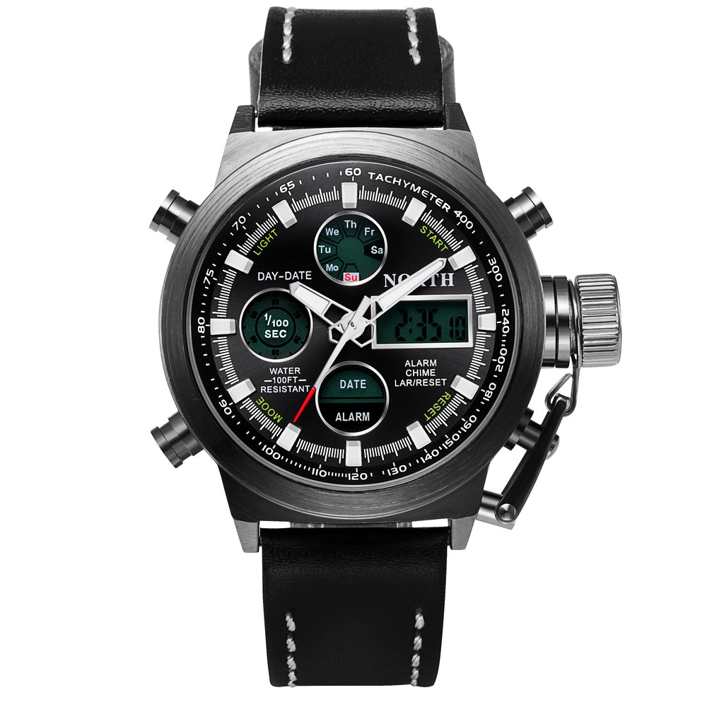 Men Sport Watches Army Military Watches Japanese Double Movement Calendar Alarm Clock Multifunction Quartz Mens Watches