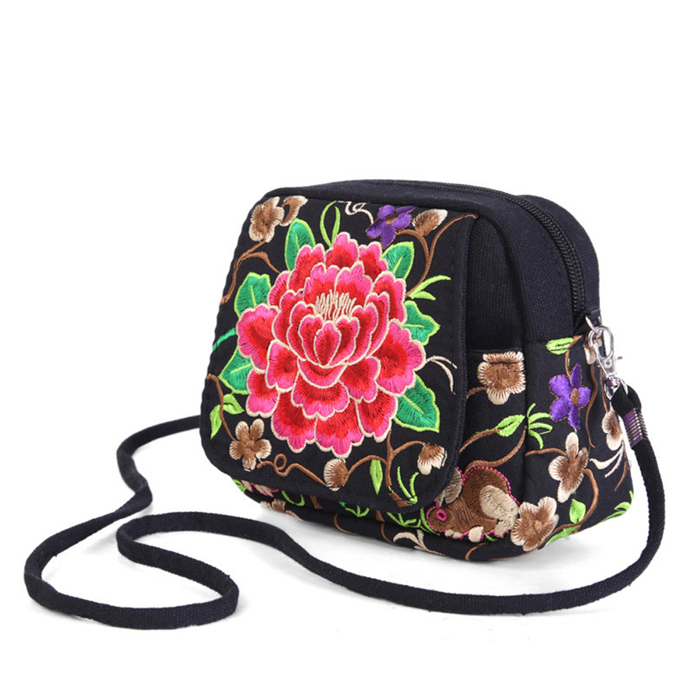 Mini Canvas Embroidered Coin Purse National Phone Wallets Embroidery Small Bags Handbag Messenger Childrens Wallet Women Clutch