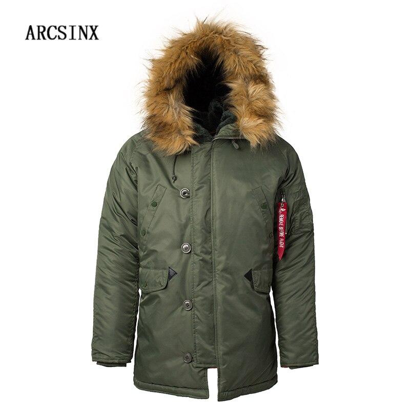 Arcsinx военные мужской пиджак европейский Расширенный диапазон размеров зимние Армейский зеленый Курточка бомбер Для мужчин бренд пилота по...