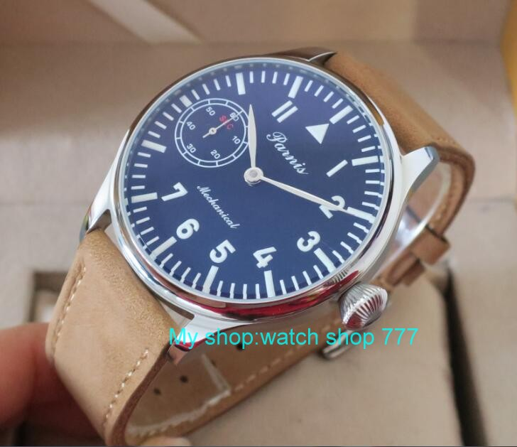 2017 new fashion 44mm PARNIS Asian 6497 Mechanical Hand Wind movement men's watch Mechanical watches wholesale x0039