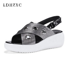 LDHZXC 2018 hot fashion women sandals summer 2018 wedges sandals wedding  shoes big size 34-42 genuine leather comfortable 975442c4167b