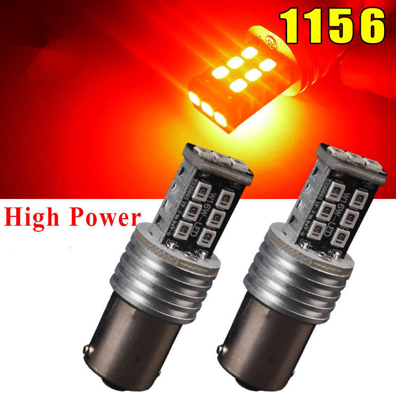 CYAN SOIL BAY 2PCS RED 1156 P21W 1141 BA15S 15W 15 SMD High Power Backup Turn Tail Signal LED Light Bulb